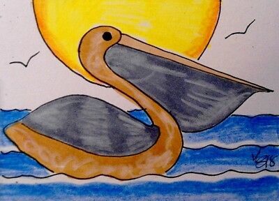 "Aceo  Original  ATC  "" PELICAN   ""    pencil / ink"