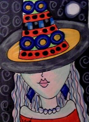 "Aceo  Original  ATC  "" ABSTRACT WITCH   ""    pencil / ink"