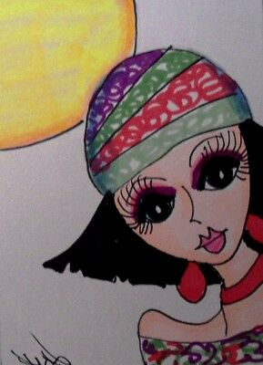 "Aceo  Original  ATC  "" SUNNY DAY GIRL ""    pencil / ink"