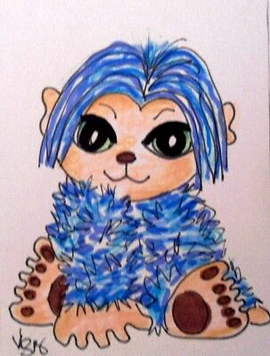 "Aceo  Original  ATC  "" BABY YETI 2  ""    pencil / ink"