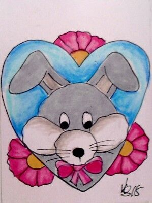 "Aceo  Original  ATC  ""BUNNY LOVE   ""    pencil / ink"