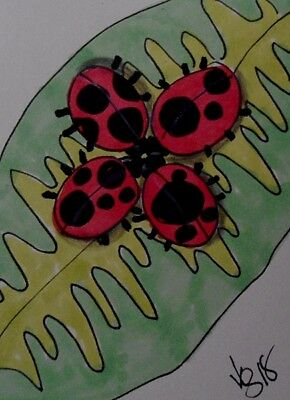 "Aceo  Original  ATC  "" LADYBUG MEETING    ""    pencil / ink"