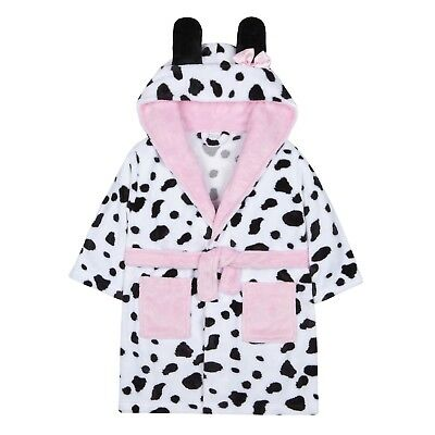 Girls Dalmatian Dressing Gown 3D Hooded Puppy Dog Bath Robe Kids House Coat Size