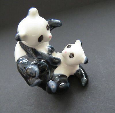 Vintage Ceramic PANDA BEARS Playful Black White Bears Marked China #224 Cute EUC