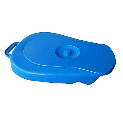 Heavy Duty Bed Pan Commode Lid Blue White Plastic Toilet Medical Nursing Care