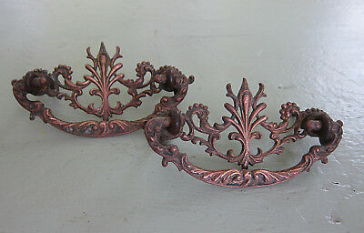 Antique Victorian Filagree Brass Drawer Pulls Bails Ornate Set of Two