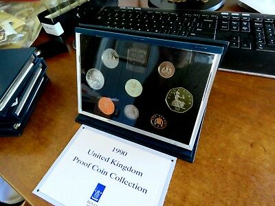 1990 United Kingdom Eight Coin Proof Coin Collection Set With Coa