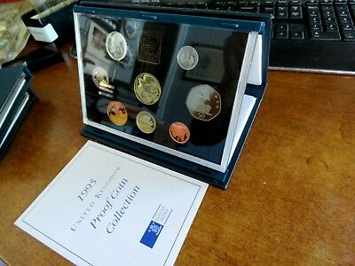 1995 United Kingdom Eight Coin Proof Coin Collection Set With Coa