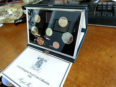 1985 United Kingdom Seven Coin Proof Coin Collection Set With Coa
