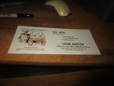 Vintage 1950's 1954 Auto Car Advertising Blotter York Pennsylvania 1904 Peerless
