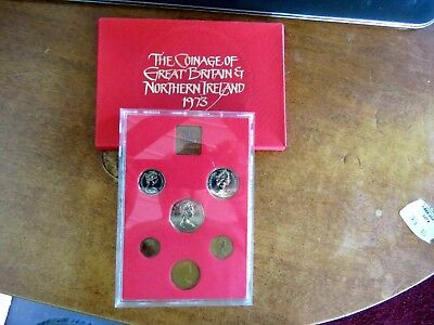 1973 United Kingdom Seven Coin Proof Coin Collection Set In Box
