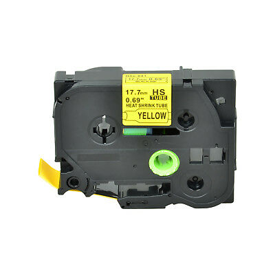 """1PK Heat Shrink Cartridge Label Black on Yellow HSe641 For Brother P-Touch 3/4"""""""