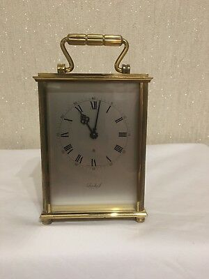 Vintage Imhof Swiss Solid Brass Carriage Clock 8 Days Roman Numerals