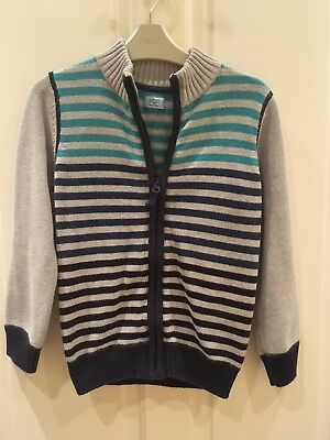 Boys Zip Up Cotton Jacket Grey & Blue Striped Age 6-7 Years