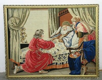 Vintage Needlepoint Tapestry Old King In Bed Framed *Local Pickup Only*