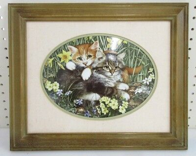 "Jan Huston W/ The Franklin Mint Lithograph On Porcelain "" Kittens In The Garden"""