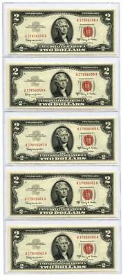 Set of 5 Consecutive 1963A $2 United States Legal Tender Notes UNC Fr #1514