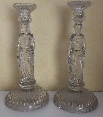 Stunning Pair Of Large Art Deco Glass Figural Egyptian Cleopatra Candle Sticks