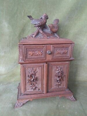 Fine Antique Carved Black Forest Table Cabinet Jewellery Box
