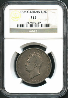 1825 Great Britain Sterling Silver 1/2 Crown NGC F-15 -133950