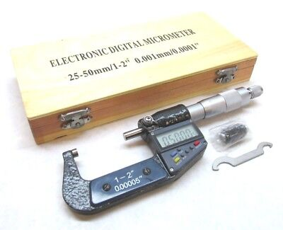 "NEW! 1-2"" ELECTRONIC DIGITAL CARBIDE-TIPPED MICROMETER - .0001"" / .001mm"