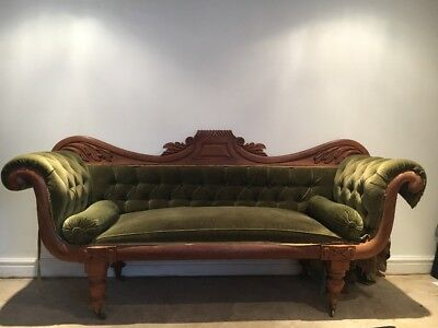 Antique quality Victorian William IV scroll arm sofa chaise longue mahogany