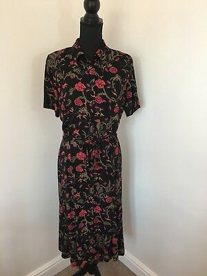 Vintage M&S Black Floral Button Down Summer Tea Shirt Dress Tie Back 12 Midi VGC
