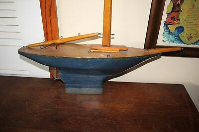 """Vintage Hand Made Wooden Pond Boat 26"""" x 43"""" high Signed by Maker 1940's"""