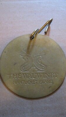 VINTAGE BRASS HOTEL KEY FOB THE WAUWINET Nantucket Island MASSACHUSETTS