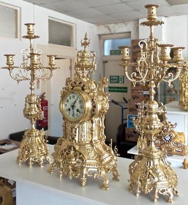 Antique XL 19th c French Japy Freres Gilt Bronze Mantle Clock Garniture Set