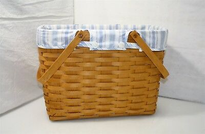 Longaberger Magazine Basket 2001 w/ Blue Check Liner
