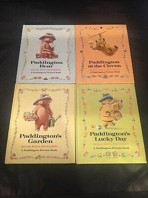 Lot of 4 Vintage Paddington Bear Picture Books 1973 1974 Garden Lucky Day Circus