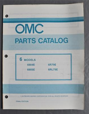 1979 OMC Evinrude Johnson Parts Catalog 6HP Outbds 4-Models P/N390733 Final Ed