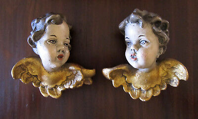 Vintage Hand Carved Wooden Cherubs Antique