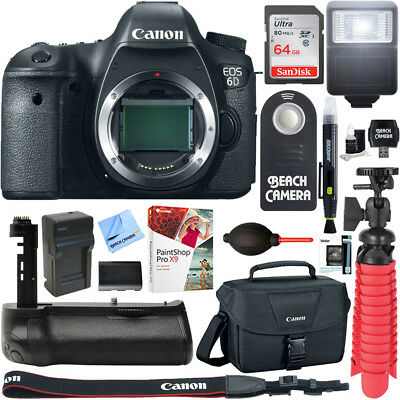 Canon EOS 6D 20.2 MP DSLR Camera Body + 64GB Memory & Deluxe Battery Grip Bundle