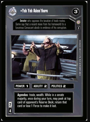 Star Wars CCG Yeb Yeb Adem'thorn | Coruscant | NM/Mint + Bonus