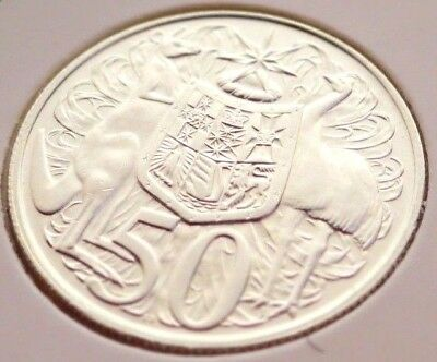 💰1966 Australia fifty cent 50c 80% silver coin in 2 x 2 holder VF Eye Appeal