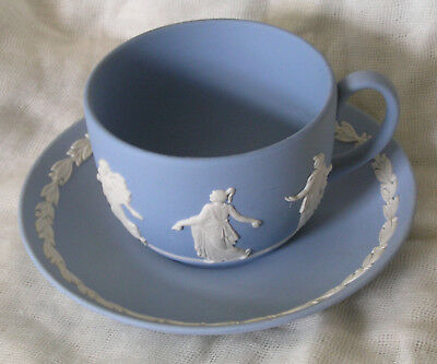 Beautiful Wedgwood Blue And White Jasper Ware Cup And Saucer Dancing Figures