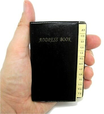 "Black Palm-Sized Pocket Address & Phone Number Book 4"" 112 Pages Small Tiny"