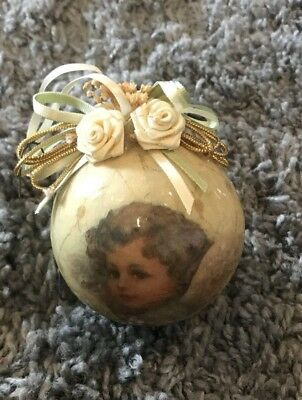 Vintage Paper Decoupage Victorian Rose Angel Christmas Ornament