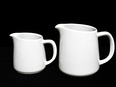 (2) Vintage Arabia White Beverage Pitchers (1) Small & (1) Large Made In Finland