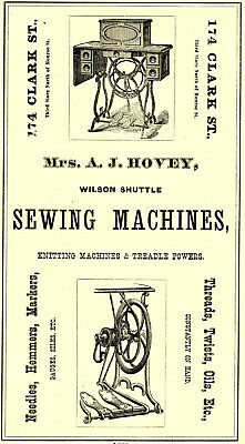 1874 Mrs. A. J. Hovey Wilson Shuttle Sewing Machines, Chicago, Illinois Ad