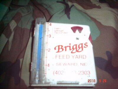 Vintage Advertising Rain Gauge Recorder Briggs Feed Yard Seward Ne.