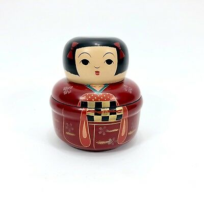 VTG Japanese Bento Trinket Box Asian Lacquer Ware Kokeshi Doll Wooden Jewelry