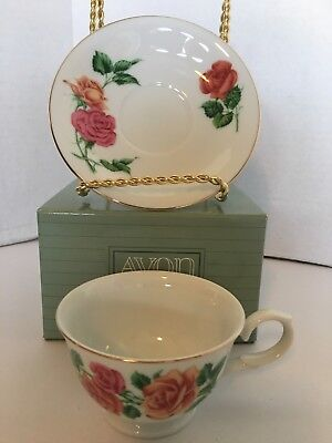 Avon Blossoms of the Month Cup & Saucer 1991 June Rose Collections NEW
