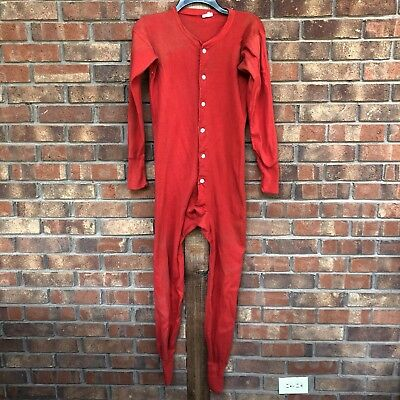 Vintage Long Johns Men's Size Small Butt Flap Button Up Red