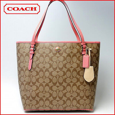 NWT Coach Peyton Signature Top Zip Tote & Shoppers Bag 27348 Silver/Khaki/Coral