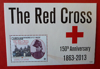 2013 St VINCENT 150th RED CROSS CANOUAN STAMP MINI SHEET