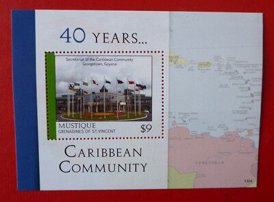 2013 St VINCENT 40yrs CARIBBEAN COMMUNITY MUSTIQUE STAMP MINI SHEET