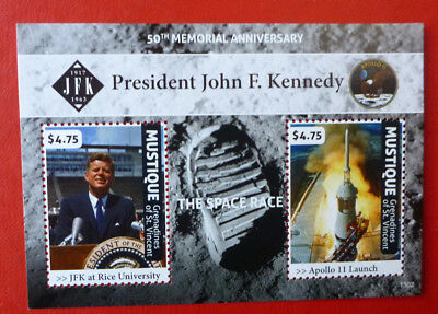 2013 St VINCENT 50TH ANNIV JFK MEMORIAL MUSTIQUE STAMP MINI SHEET